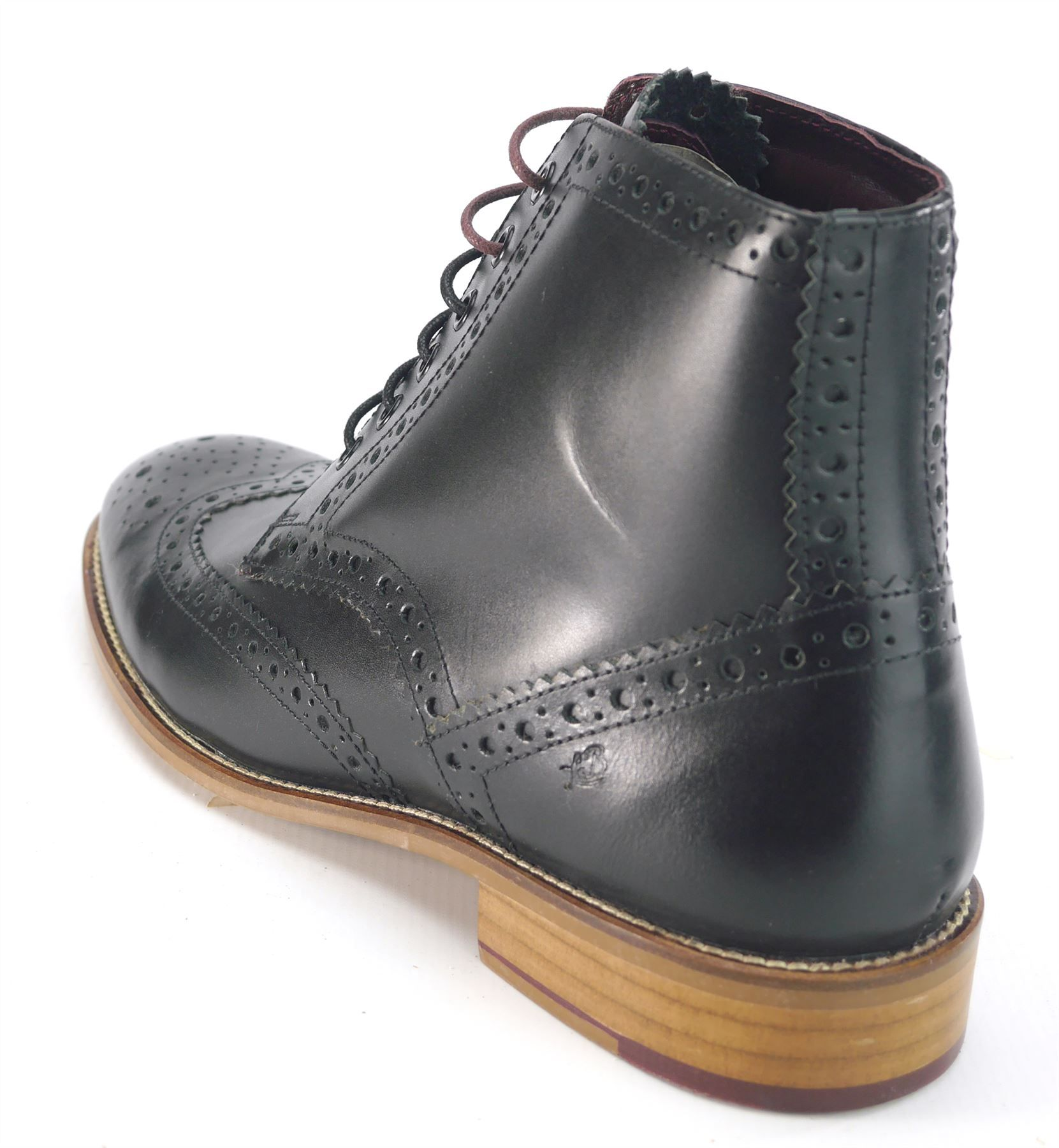 London Brogues Mens Leather Lace Up Wingtip Formal GATSBY Hi Brogue Boots e5fe22aed460